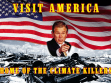 Robbie Conal, Visit America, Home of The Climate Killers (Navštivte Ameriku, ráj zabijáků klimatu), plakát, foto: archiv autora