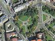 Rozmístění zhasínajících lamp Barbory Klímové v parku na Moravském náměstí v Brně.