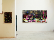 left: Father, 2008, acrylic, collage, shoes, desk, 88 x 62 cm. Right: Do you love me? 2007, acryl on canvas, 155 x 310 cm.