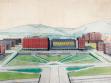F. L. Gahura. Návrh Náměstí práce, Zlín, 1935. Kolorovaná fotografie, MuMB