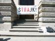"""OFSW (Citizen Forum for Contemporary Arts), Art Strike rally in front of Warsaw's Zachęta National Gallery of Art: Banner reads """"Strike! -  We call for the government to start negotiating with artists,"""" 2012"""